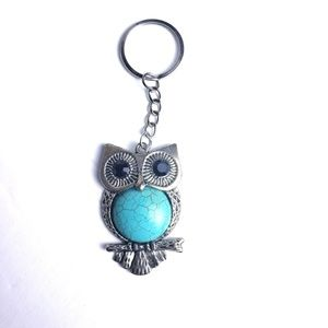 3/30 Owl Blue Silver Key Chain